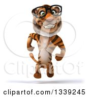 Clipart Of A 3d Bespectacled Tiger Sprinting Royalty Free Illustration