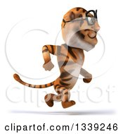 Clipart Of A 3d Bespectacled Tiger Sprinting To The Right Royalty Free Illustration