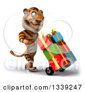 Clipart Of A 3d Tiger Walking To The Right And Moving Gifts On A Dolly Royalty Free Illustration