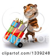 Clipart Of A 3d Tiger Walking To The Left And Moving Gifts On A Dolly Royalty Free Illustration