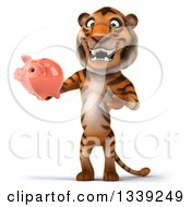 Clipart Of A 3d Tiger Holding And Presenting A Piggy Bank Royalty Free Illustration