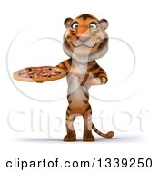 Clipart Of A 3d Tiger Holding And Pointing To A Pizza Royalty Free Illustration