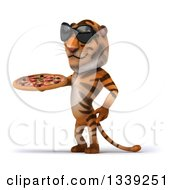 Clipart Of A 3d Tiger Wearing Sunglasses Facing Left And Holding A Pizza Royalty Free Illustration