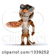 Clipart Of A 3d Tiger Wearing Sunglasses And Holding A Pizza Royalty Free Illustration
