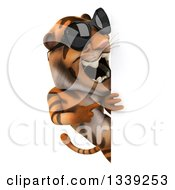 Clipart Of A 3d Tiger Wearing Sunglasses And Pointing Around A Sign Royalty Free Illustration