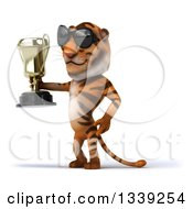 Clipart Of A 3d Tiger Wearing Sunglasses Facing Left And Holding A Trophy Royalty Free Illustration