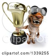 Clipart Of A 3d Tiger Wearing Sunglasses And Holding Up A Trophy Royalty Free Illustration