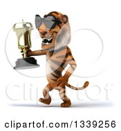 Clipart Of A 3d Tiger Wearing Sunglasses Walking To The Left And Holding A Trophy Royalty Free Illustration