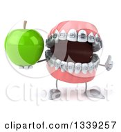 Clipart Of A 3d Metal Mouth Teeth Mascot With Braces Giving A Thumb Up And Holding A Green Apple Royalty Free Illustration