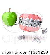 Clipart Of A 3d Metal Mouth Teeth Mascot With Braces Shrugging And Holding A Green Apple Royalty Free Illustration