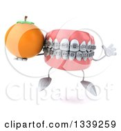Clipart Of A 3d Metal Mouth Teeth Mascot With Braces Jumping And Holding A Navel Orange Royalty Free Illustration