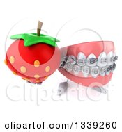 Clipart Of A 3d Metal Mouth Teeth Mascot With Braces Holding Up A Strawberry Royalty Free Illustration