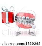 Clipart Of A 3d Metal Mouth Teeth Mascot With Braces Holding And Pointing To A Gift Royalty Free Illustration by Julos