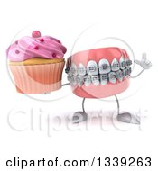 Clipart Of A 3d Metal Mouth Teeth Mascot With Braces Holding Up A Finger And A Pink Frosted Cupcake Royalty Free Illustration