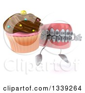Clipart Of A 3d Metal Mouth Teeth Mascot With Braces Facing Right Jumping And Holding A Chocolate Frosted Cupcake Royalty Free Illustration