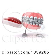 Clipart Of A 3d Metal Mouth Teeth Mascot With Braces Holding And Pointing To A Beef Steak Royalty Free Illustration
