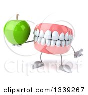 Clipart Of A 3d Mouth Teeth Character Shrugging And Holding A Green Apple Royalty Free Illustration