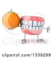 Clipart Of A 3d Mouth Teeth Character Giving A Thumb Down And Holding A Navel Orange Royalty Free Illustration