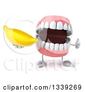 Clipart Of A 3d Mouth Teeth Character Holding A Banana And Giving A Thumb Up Royalty Free Illustration