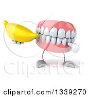 Clipart Of A 3d Mouth Teeth Character Holding And Pointing To A Banana Royalty Free Illustration