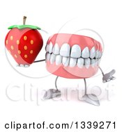 Clipart Of A 3d Mouth Teeth Character Holding A Strawberry And Shrugging Royalty Free Illustration