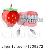 Clipart Of A 3d Mouth Teeth Character Facing Slightly Right Holding A Strawberry And Jumping Royalty Free Illustration