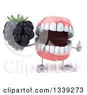 Clipart Of A 3d Mouth Teeth Character Holding A Blackberry And Giving A Thumb Up Royalty Free Illustration