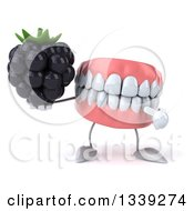 Clipart Of A 3d Mouth Teeth Character Holding And Pointing To A Blackberry Royalty Free Illustration