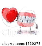 Clipart Of A 3d Mouth Teeth Character Holding A Red Love Heart Royalty Free Illustration