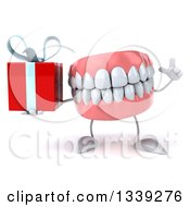 Clipart Of A 3d Mouth Teeth Character Holding Up A Finger And A Gift Royalty Free Illustration