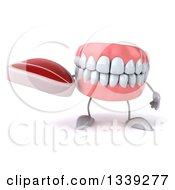 Clipart Of A 3d Mouth Teeth Character Holding A Beef Steak Royalty Free Illustration
