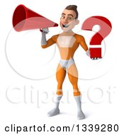 Clipart Of A 3d Young Brunette White Male Super Hero In An Orange Suit Holding A Question Mark And Announcing With A Megaphone Royalty Free Illustration