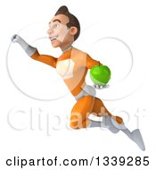 Clipart Of A 3d Young Brunette White Male Super Hero In An Orange Suit Holding A Green Apple And Flying Royalty Free Illustration