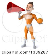 Clipart Of A 3d Young Brunette White Male Super Hero In An Orange Suit Holding A Navel Orange And Announcing With A Megaphone Royalty Free Illustration