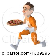 Clipart Of A 3d Young Brunette White Male Super Hero In An Orange Suit Holding A Pizza And Sprinting To The Left Royalty Free Illustration