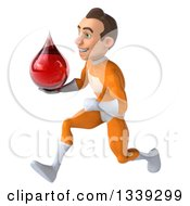 Clipart Of A 3d Young Brunette White Male Super Hero In An Orange Suit Holding A Blood Drop And Sprinting To The Left Royalty Free Illustration