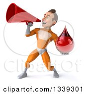 Clipart Of A 3d Young Brunette White Male Super Hero In An Orange Suit Holding A Blood Drop And Announcing To The Left With A Megaphone Royalty Free Illustration