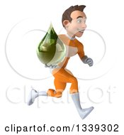 Clipart Of A 3d Young Brunette White Male Super Hero In An Orange Suit Holding A Green Medicine Tincture Droplet And Sprinting To The Right Royalty Free Illustration