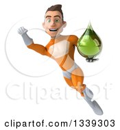 Clipart Of A 3d Young Brunette White Male Super Hero In An Orange Suit Flying Holding A Green Medicine Tincture Droplet Royalty Free Illustration