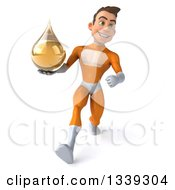 Clipart Of A 3d Young Brunette White Male Super Hero In An Orange Suit Holding An Amber Medicine Tincture Droplet And Speed Walking Royalty Free Illustration