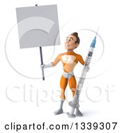 Clipart Of A 3d Young Brunette White Male Super Hero In An Orange Suit Holding A Giant Syringe And Looking Up At A Blank Sign Royalty Free Illustration