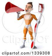 Clipart Of A 3d Young Brunette White Male Super Hero In An Orange Suit Holding A Giant Toothbrush And Announcing With A Megaphone Royalty Free Illustration