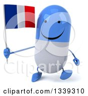 Clipart Of A 3d Happy Blue And White Pill Character Holding A French Flag And Walking Royalty Free Illustration