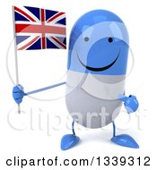 Clipart Of A 3d Happy Blue And White Pill Character Holding And Pointing To A British Union Jack Flag Royalty Free Illustration