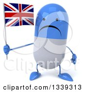 Clipart Of A 3d Unhappy Blue And White Pill Character Holding A British Union Jack Flag Royalty Free Illustration