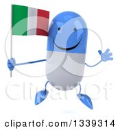 Clipart Of A 3d Happy Blue And White Pill Character Holding An Italian Flag And Jumping Royalty Free Illustration