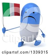 Clipart Of A 3d Unhappy Blue And White Pill Character Holding An Italian Flag And Walking Royalty Free Illustration