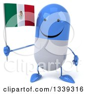 Clipart Of A 3d Happy Blue And White Pill Character Holding A Mexican Flag Royalty Free Illustration