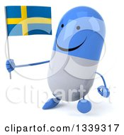 Clipart Of A 3d Happy Blue And White Pill Character Holding A Swedish Flag And Walking Slightly Left Royalty Free Illustration