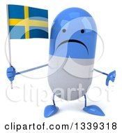 Clipart Of A 3d Unhappy Blue And White Pill Character Holding A Swedish Flag And Giving A Thumb Down Royalty Free Illustration